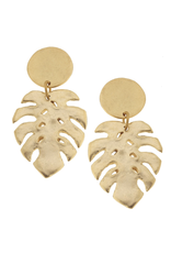 Susan Shaw Gold Monstera Earrings by Susan Shaw