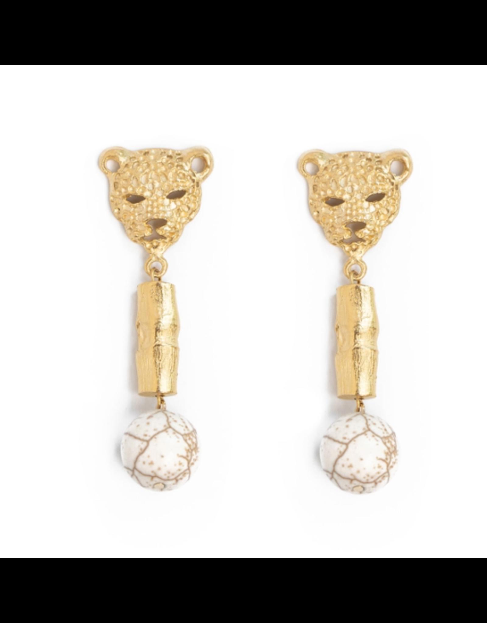 Susan Shaw Leopard Head Drop Earrings by Susan Shaw