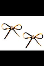 Tortoise Bows in Brown Earrings