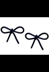Tortoise Bows in Black Earrings