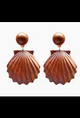 Wooden Shell Drop Earrings
