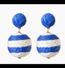 Raffia Blue and White Stripe Drop Earrings