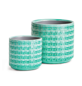 Napa Home & Garden Nolen Pot in Aqua 6.75 x 6.75 x 6.75
