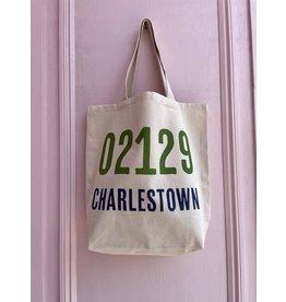 Potluck Press Green and Navy Charlestown 02129 Tote