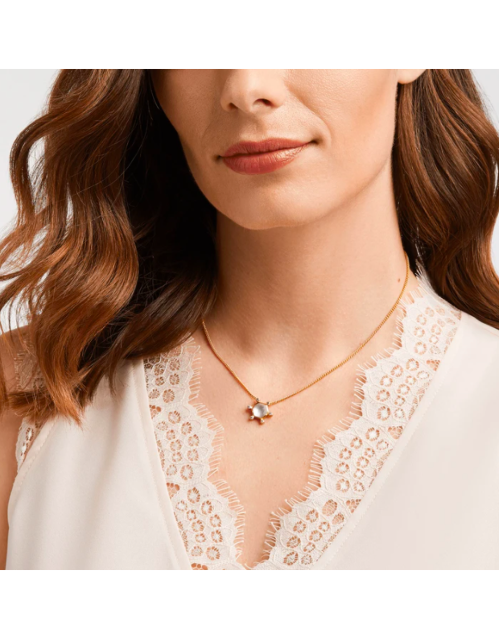 Julie Vos Cosmo Solitaire Necklace by Julie Vos in Iridescent Clear Crystal