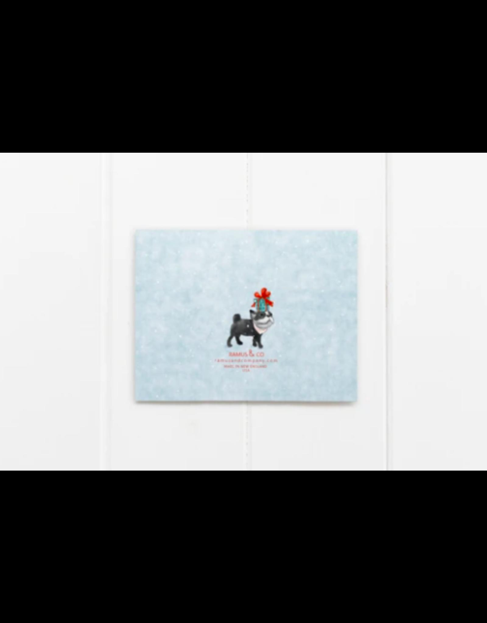 Ramus & Co Dog Walking in a Winter Wonderland Card
