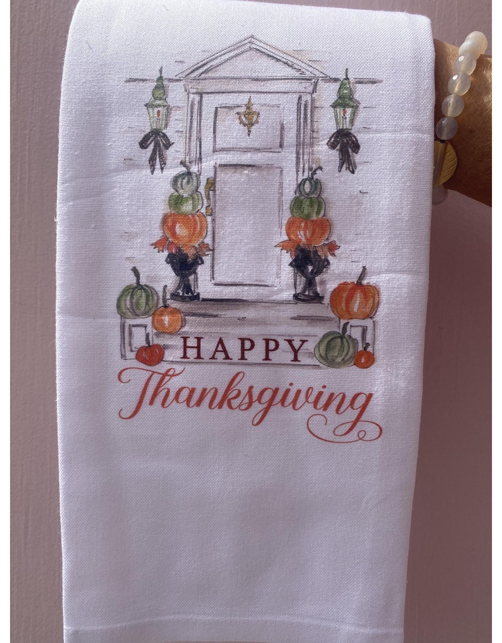 RoseanneBECK Collection Handpainted Festive Door Tea Towel
