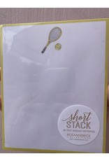 RoseanneBECK Collection Tennis Racket and Ball with Light Gold Short Stack Notepad