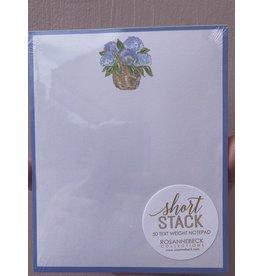 RoseanneBECK Collection Floral Basket with Light Blue Border Short Stack Notepad