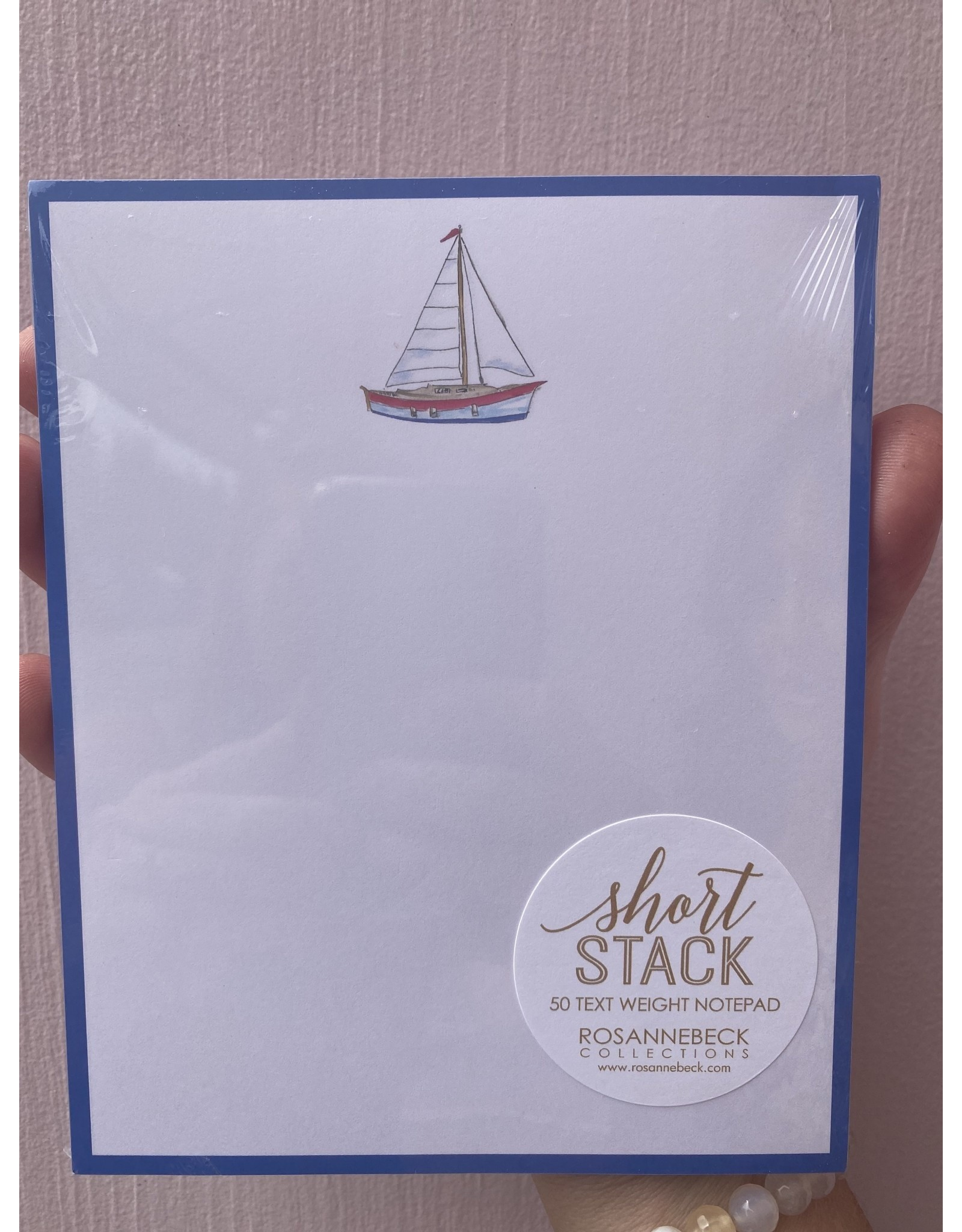 RoseanneBECK Collection Sailboat with Navy Border Short Stack Notepad