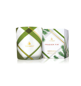 Thymes Frasier Fir Medium Frosted Plaid Candle