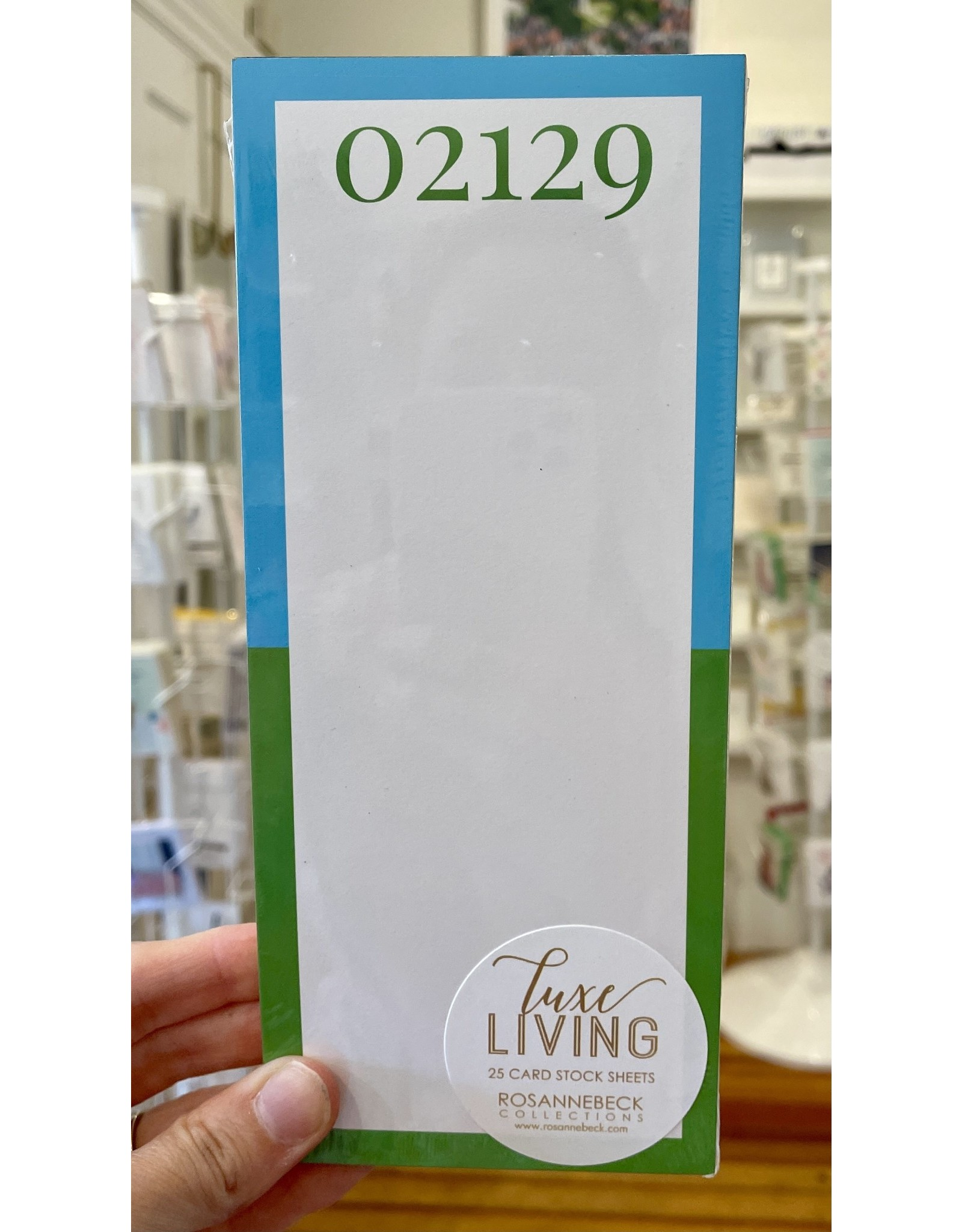 RoseanneBECK Collection 02129 Blue and Green Luxe Skinny Notepad