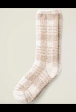 Barefoot Dreams CozyChic Heathered Socks in Cream Plaid
