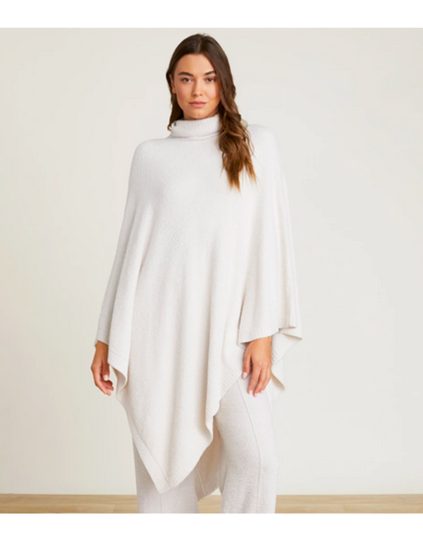Barefoot Dreams CozyChic Turtleneck Poncho in Sand Dune