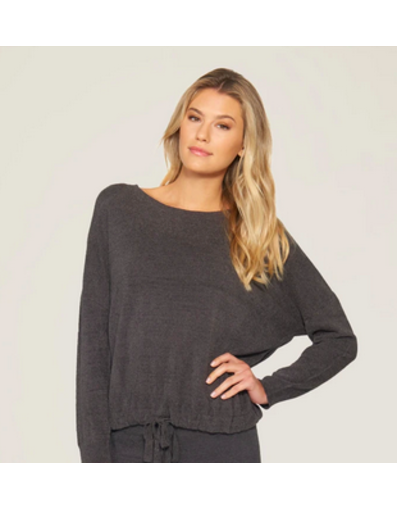 Barefoot Dreams CozyChic Ultra Lite Slouchy Pullover in Carbon