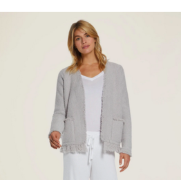 Barefoot Dreams CozyChic Fringed Jacket in Oyster