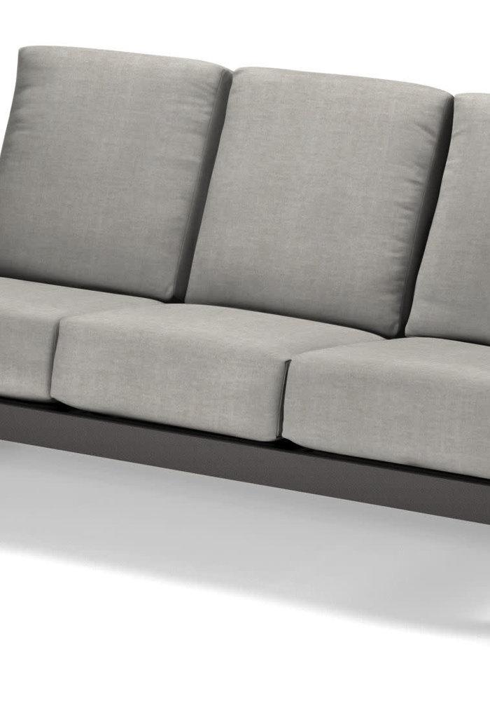 Leeward MGP Cushion Three-Seat Sofa Graphite and Charter Silk