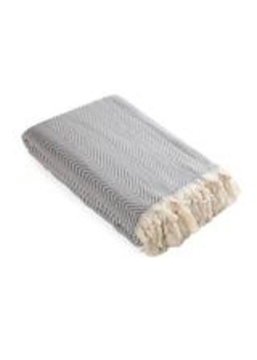 Olive & Linen Mara Turkish Blanket Gray