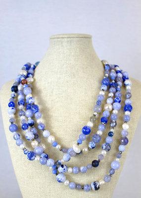 Ali and Bird Jewlry 929 Necklace with Denim Beads