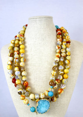 Ali and Bird Jewlry 610 Sun Necklace with Citrus and Agate Beads with Druzy Accent