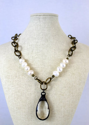 Maryna Jewelry Pearl + Chain Necklace
