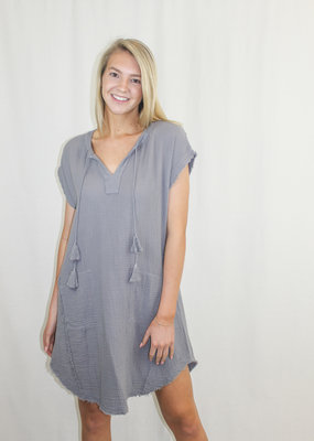 Mododoc Gray Cotton Dress with Tassels