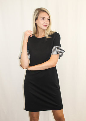 Renuar Knit Dress with Gingham Sleeves