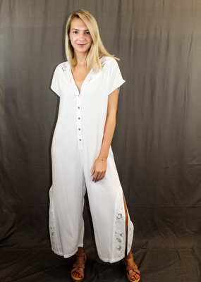 Show Me Your Mumu Show Me Your Mumu V-Neck Aussie Jumpsuit with Sleeves