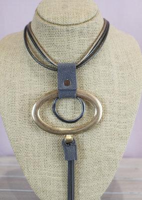 alisha d Short Leather Tassle Necklace