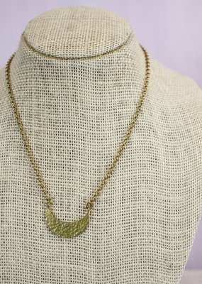 Ginu Ginu Cresent Raw Brass Short Necklace