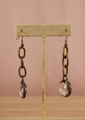 Triple Play Chain Earring with Jewel Detail