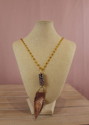Triple Play Gold Chain Necklace with Metalic Feather