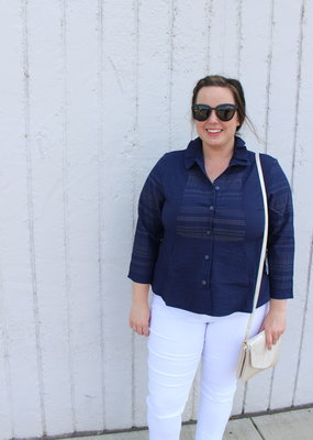 Habitat Detailed Button Top with Ruffled Collar