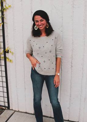 Hem & Thread Star Embroidered Fuzzy Crew Neck Sweater
