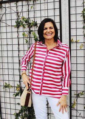 Ravel Fashion Inc. Striped Button Up Blouse