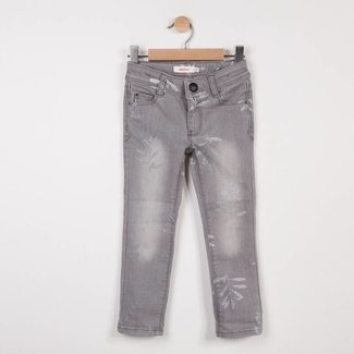 SLIM GREY DENIM JEANS WITH SILVER PATTERNS