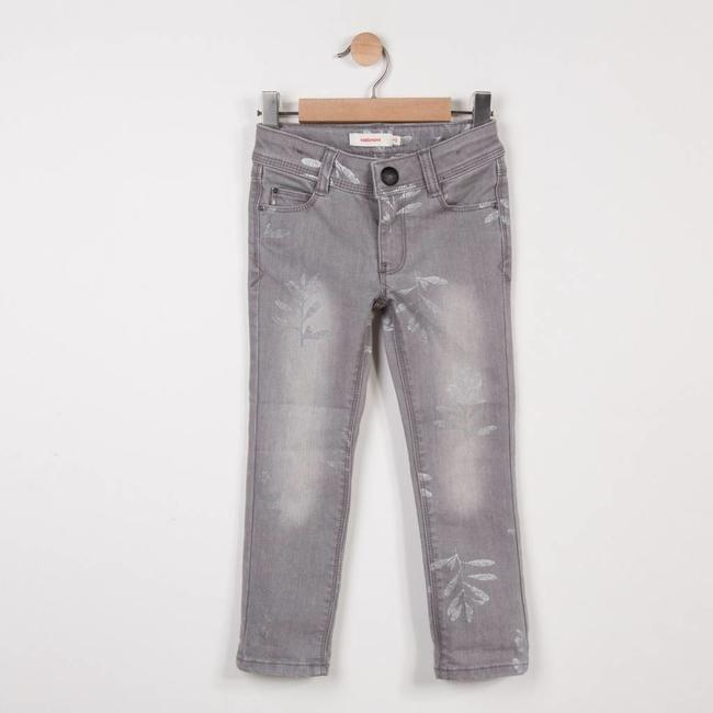 CATIMINI SLIM GREY DENIM JEANS WITH SILVER PATTERNS