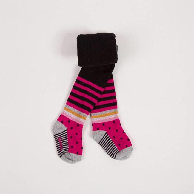 CHARCOAL TIGHTS WITH PEONY PINK STRIPES