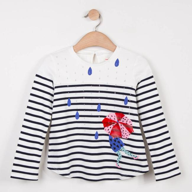 STRIPED PATTERN T-SHIRT WITH UMBERLLA