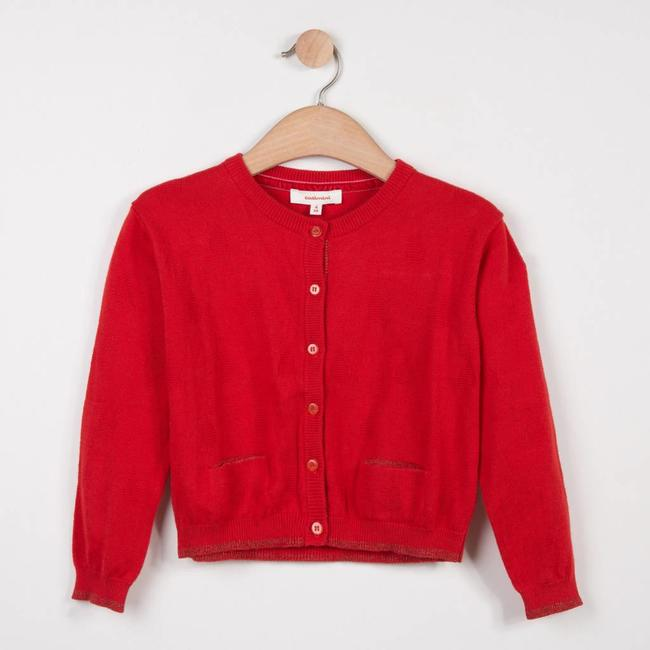 VERMILION RED TEXTURED KNIT CARDIGAN