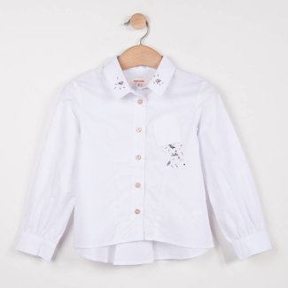 CATIMINI WHITE POPLIN BLOUSE WITH EMBROIDERED COLLAR