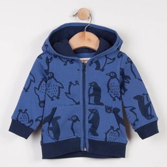ZIPPED FLEECE SWEATER PRINTED WITH PENGUINS