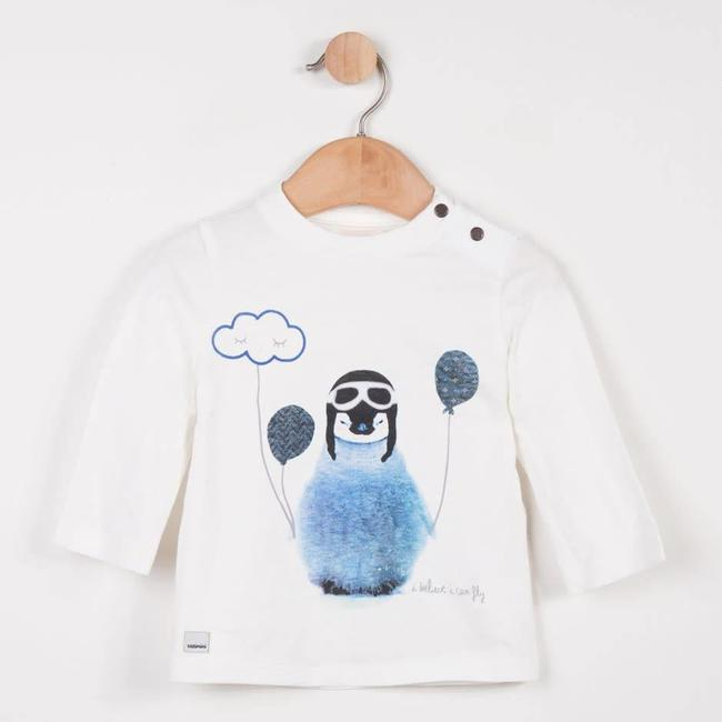 WHITE T-SHIRT WITH PENGUIN PATTERN