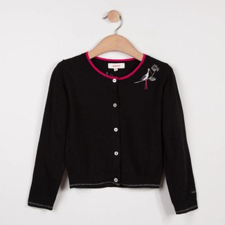 CATIMINI BLACK JACQUARD KNIT CARDIGAN WITH STORK