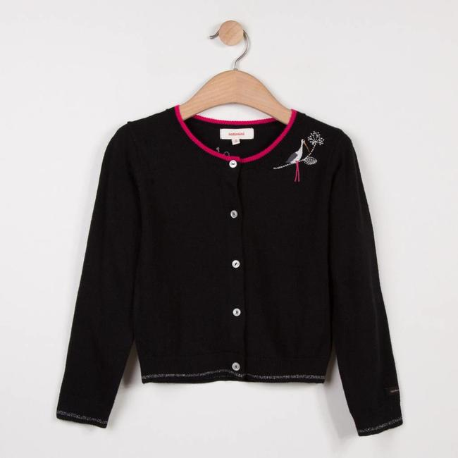 BLACK JACQUARD KNIT CARDIGAN WITH STORK