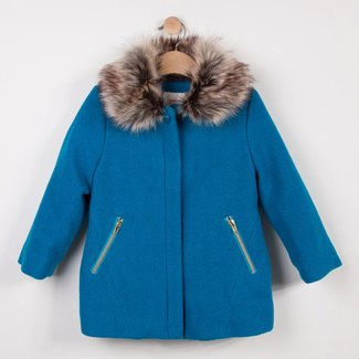 COAT IN SHINY TURQUOISE WOOL AND FUR COLLAR