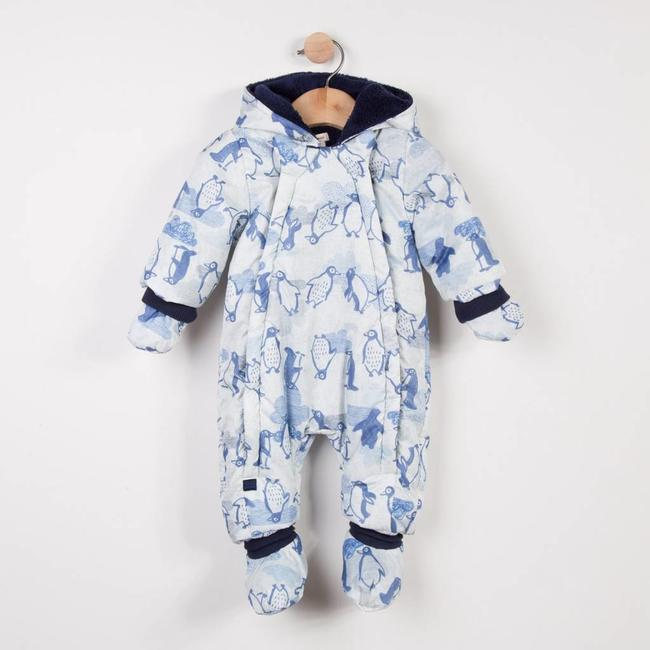FLEECE-LINED SNOWSUIT WITH PENGUIN PATTERN