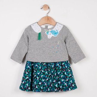 DRESS IN TWO MATERIALS, SEQUINNED FLEECE AND MILANO JERSEY PRINTED WITH UNICORNS