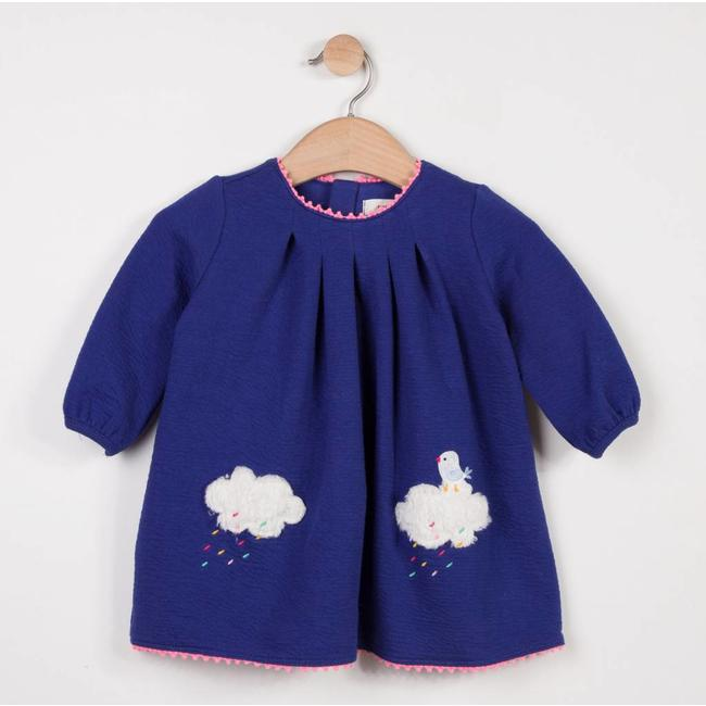 EMBOSSED TUBULAR KNIT DRESS WITH CLOUD PATTERNS