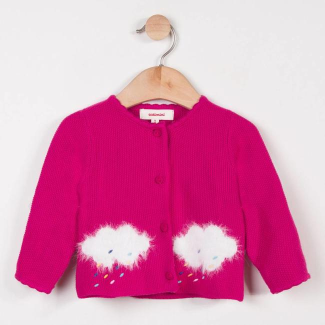FINE PINK CARDIGAN WITH CLOUD PATTERNS